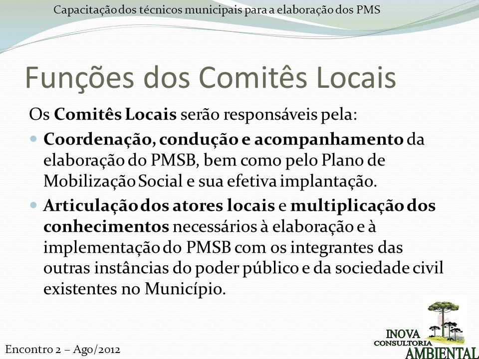 Capacitação dos técnicos municipais para a elaboração dos PMS Encontro 2 – Ago/2012 Funções dos Comitês Locais Os Comitês Locais serão responsáveis pela: Coordenação, condução e acompanhamento da elaboração do PMSB, bem como pelo Plano de Mobilização Social e sua efetiva implantação.