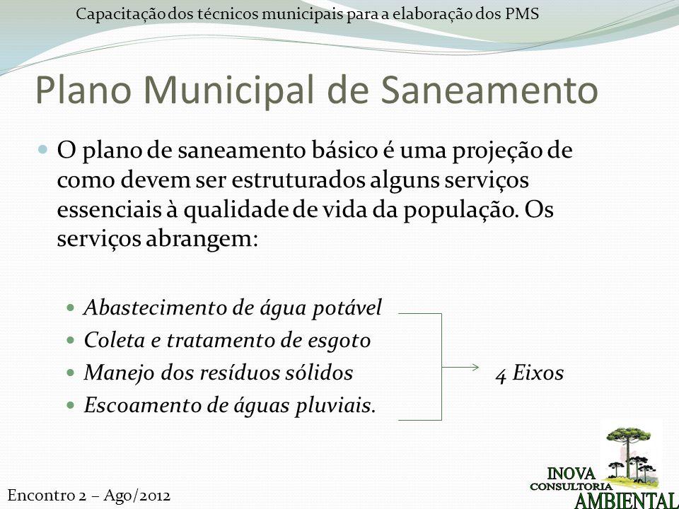 Capacitação dos técnicos municipais para a elaboração dos PMS Encontro 2 – Ago/2012 Plano Municipal de Saneamento A Lei n° 11.445/2007 estabelece como princípio a participação da sociedade em todos os processos de elaboração e implementação do PMSB.