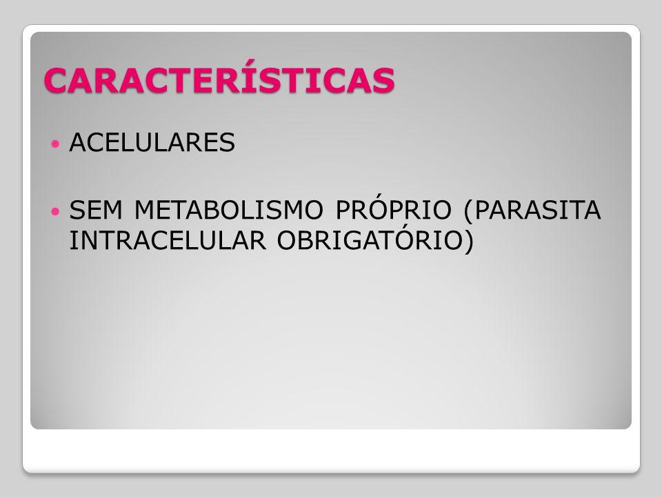 CARACTERÍSTICAS ACELULARES SEM METABOLISMO PRÓPRIO (PARASITA INTRACELULAR OBRIGATÓRIO)