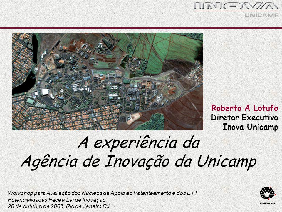 Roberto A Lotufo Diretor Executivo Inova Unicamp A experiência da Agência de Inovação da Unicamp Workshop para Avaliação dos Núcleos de Apoio ao Paten