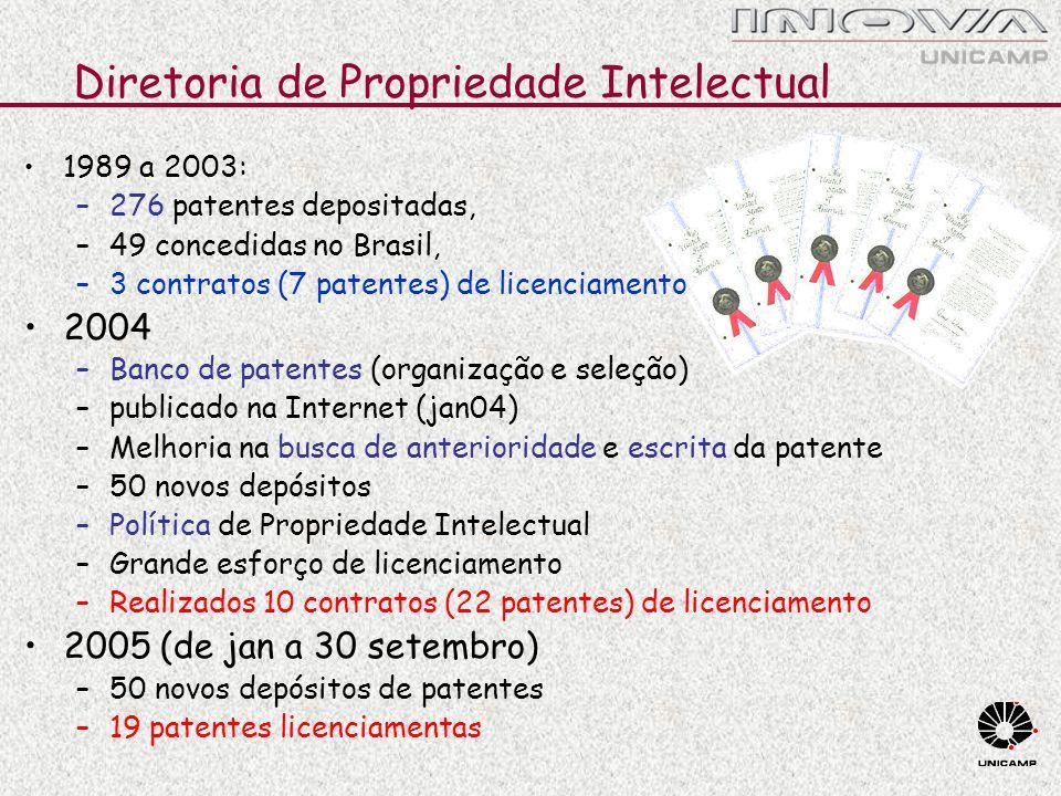 Diretoria de Propriedade Intelectual 1989 a 2003: –276 patentes depositadas, –49 concedidas no Brasil, –3 contratos (7 patentes) de licenciamento 2004