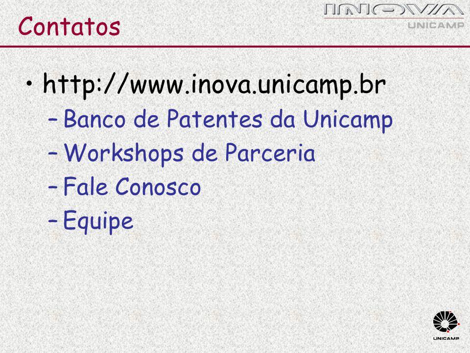 Contatos http://www.inova.unicamp.br –Banco de Patentes da Unicamp –Workshops de Parceria –Fale Conosco –Equipe