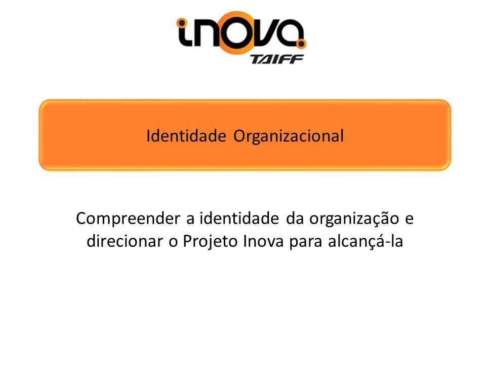 Identidade Organizacional Compreender a identidade da organização e direcionar o Projeto Inova para alcançá-la