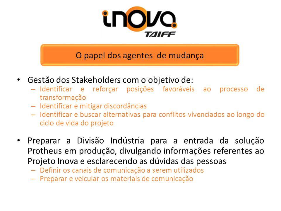 O papel dos agentes de mudança Gestão dos Stakeholders com o objetivo de: – Identificar e reforçar posições favoráveis ao processo de transformação –