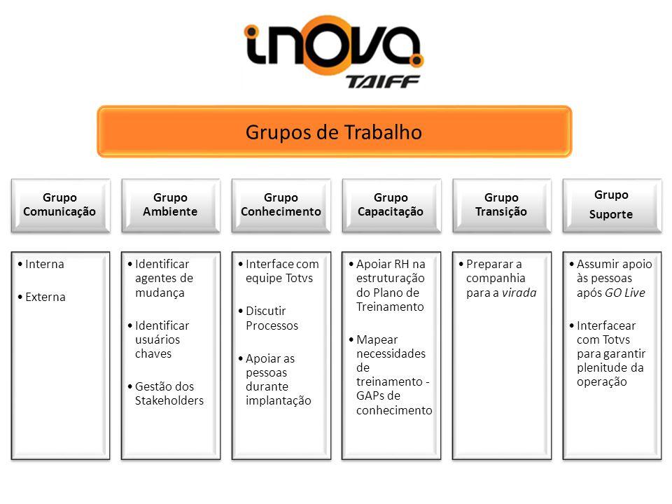 Grupos de Trabalho Grupo Comunicação Interna Externa Grupo Ambiente Identificar agentes de mudança Identificar usuários chaves Gestão dos Stakeholders