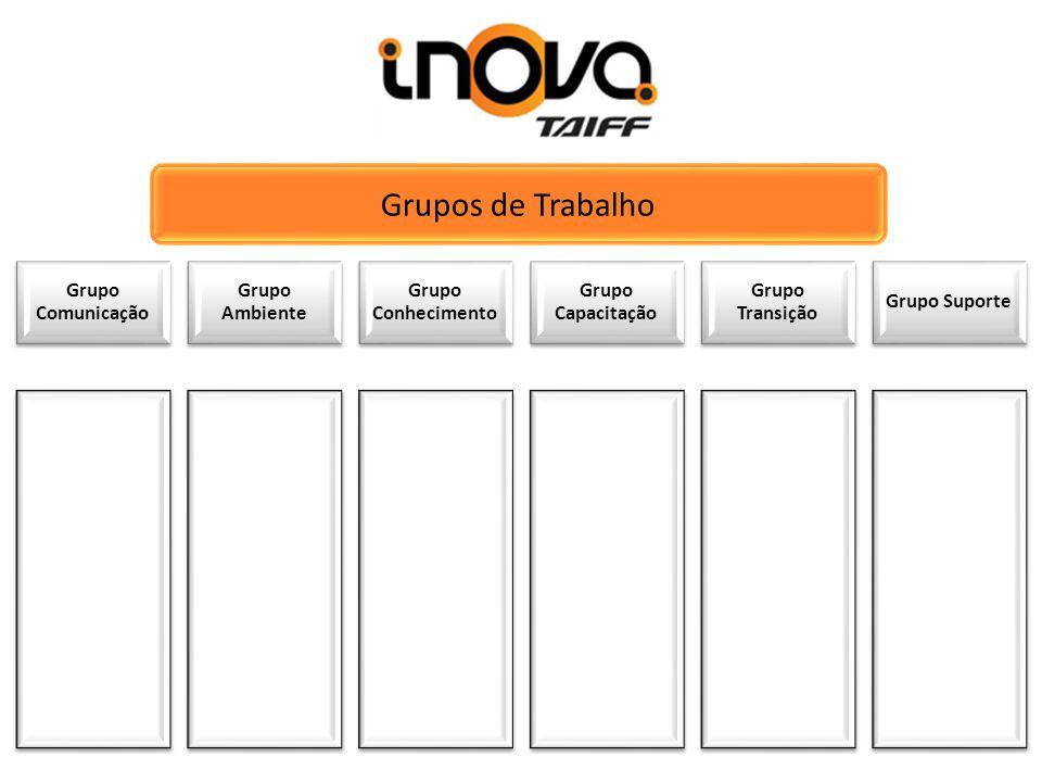Grupo Comunicação Grupo Ambiente Grupo Conhecimento Grupo Capacitação Grupo Transição Grupo Suporte Grupos de Trabalho