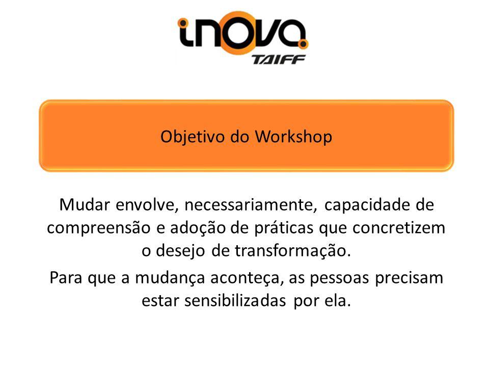 Objetivo do Workshop Mudar envolve, necessariamente, capacidade de compreensão e adoção de práticas que concretizem o desejo de transformação. Para qu