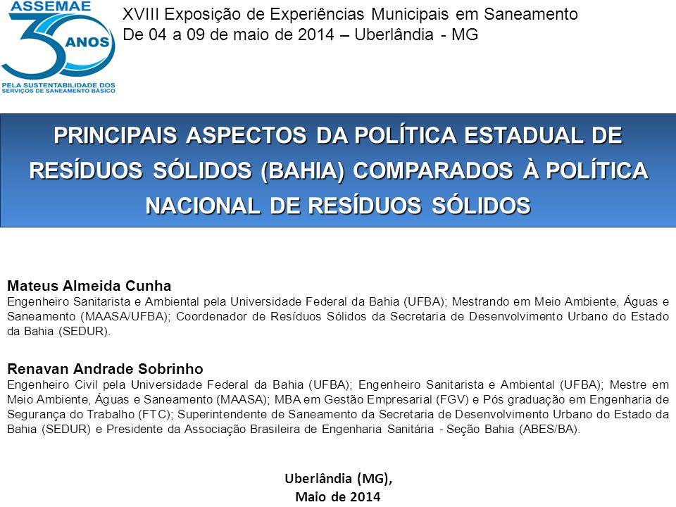 B r a s i l Bahia Pop Total 14 milhões IBGE/ 2010 Área: 567.295 km²417 municípios 27 Territórios Identidade 80% dos Municípios têm menos de 30.000 habitantes 72% população urbana Resíduos Sólidos no Estado da Bahia