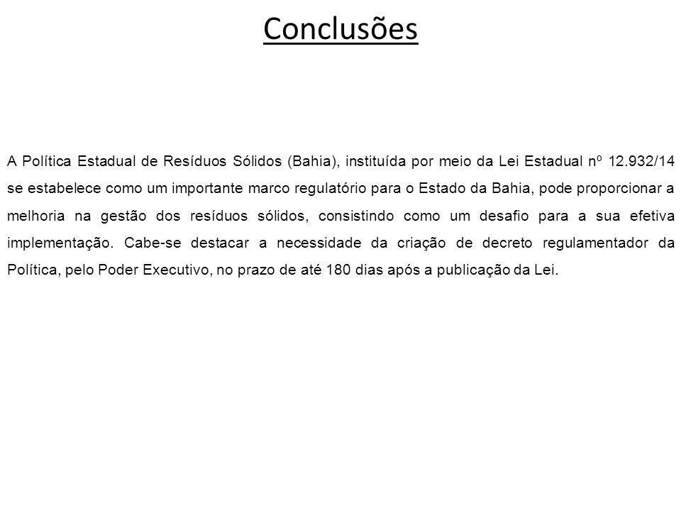Conclusões A Política Estadual de Resíduos Sólidos (Bahia), instituída por meio da Lei Estadual nº 12.932/14 se estabelece como um importante marco re