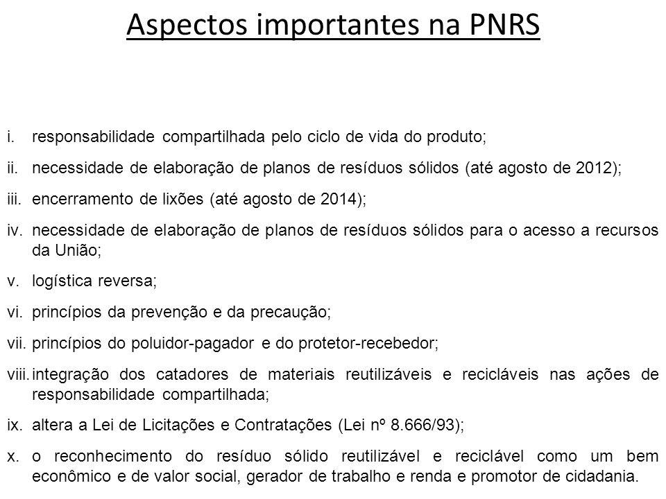 i.responsabilidade compartilhada pelo ciclo de vida do produto; ii.necessidade de elaboração de planos de resíduos sólidos (até agosto de 2012); iii.e