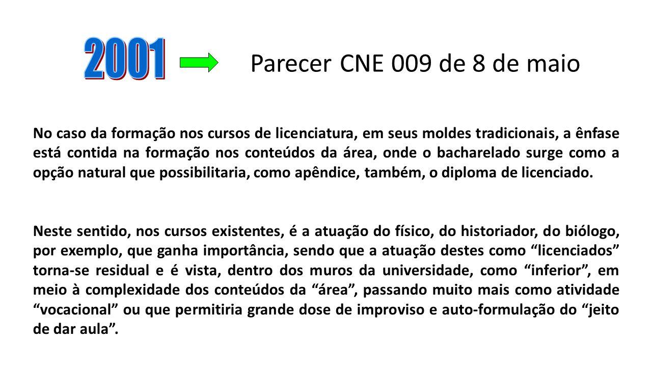 Parecer CNE 009 de 8 de maio No caso da formação nos cursos de licenciatura, em seus moldes tradicionais, a ênfase está contida na formação nos conteú