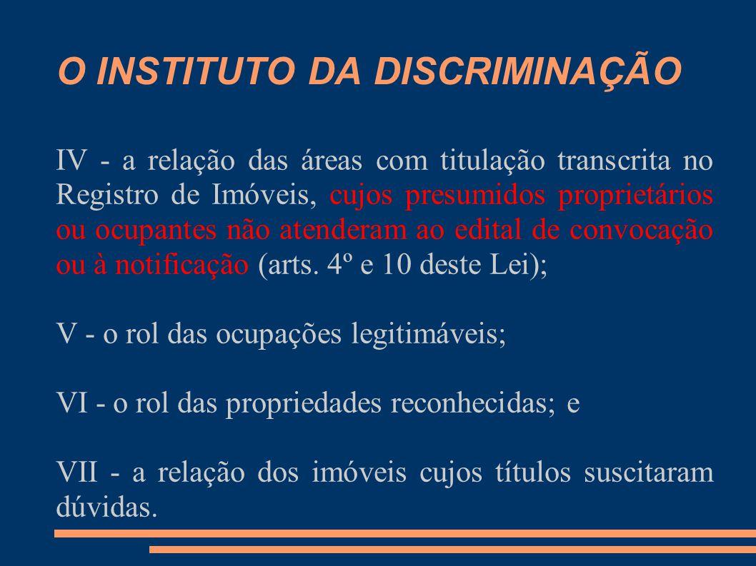 O INSTITUTO DA DISCRIMINAÇÃO IV - a relação das áreas com titulação transcrita no Registro de Imóveis, cujos presumidos proprietários ou ocupantes não