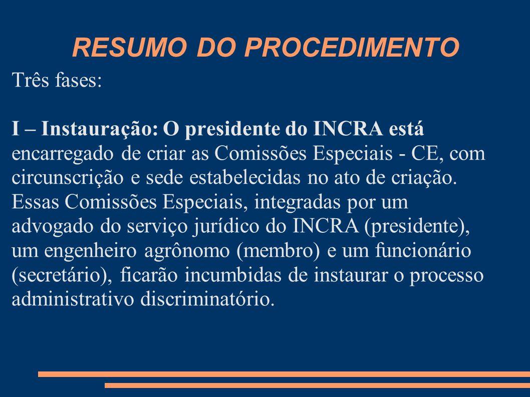 RESUMO DO PROCEDIMENTO Três fases: I – Instauração: O presidente do INCRA está encarregado de criar as Comissões Especiais - CE, com circunscrição e sede estabelecidas no ato de criação.