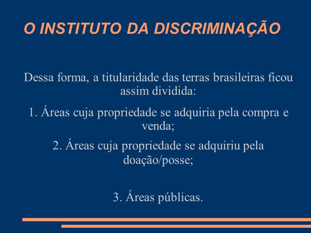 O INSTITUTO DA DISCRIMINAÇÃO Dessa forma, a titularidade das terras brasileiras ficou assim dividida: 1. Áreas cuja propriedade se adquiria pela compr