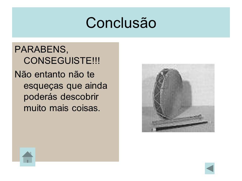 Conclusão PARABENS, CONSEGUISTE!!! Não entanto não te esqueças que ainda poderás descobrir muito mais coisas.