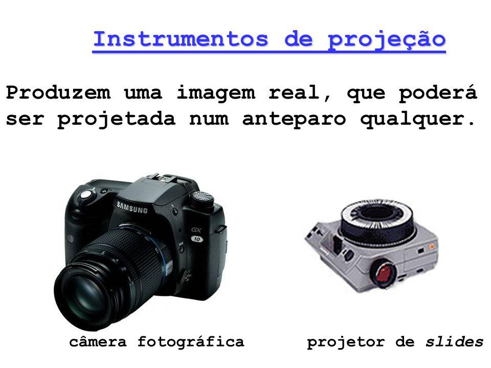 Instrumentos de projeção Produzem uma imagem real, que poderá ser projetada num anteparo qualquer. câmera fotográficaprojetor de slides