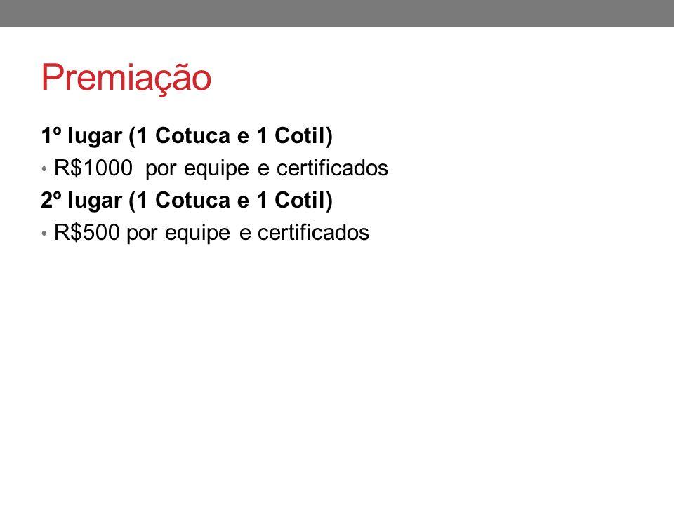 Premiação 1º lugar (1 Cotuca e 1 Cotil) R$1000 por equipe e certificados 2º lugar (1 Cotuca e 1 Cotil) R$500 por equipe e certificados