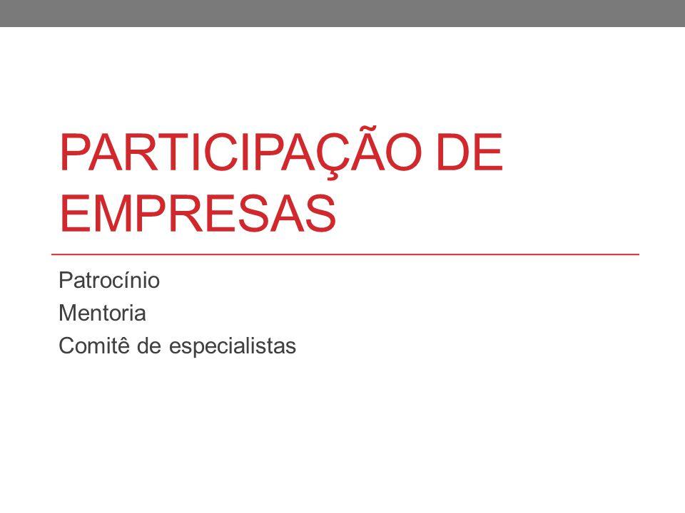 PARTICIPAÇÃO DE EMPRESAS Patrocínio Mentoria Comitê de especialistas