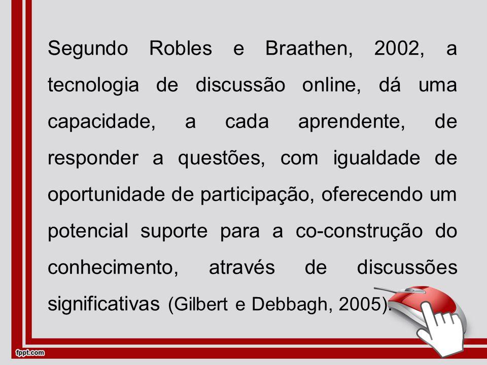 Segundo Robles e Braathen, 2002, a tecnologia de discussão online, dá uma capacidade, a cada aprendente, de responder a questões, com igualdade de oportunidade de participação, oferecendo um potencial suporte para a co-construção do conhecimento, através de discussões significativas (Gilbert e Debbagh, 2005).