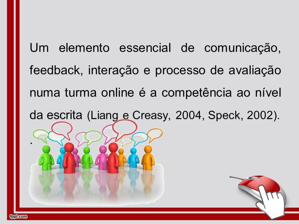 Um elemento essencial de comunicação, feedback, interação e processo de avaliação numa turma online é a competência ao nível da escrita (Liang e Creasy, 2004, Speck, 2002)..