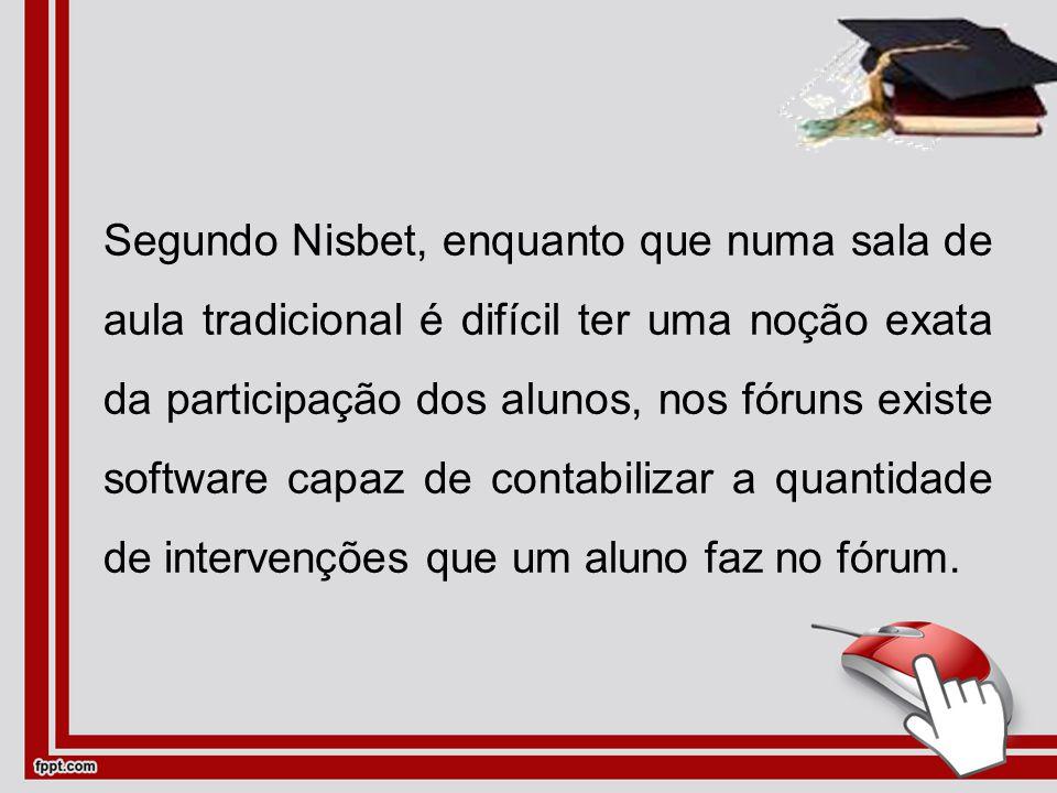 Segundo Nisbet, enquanto que numa sala de aula tradicional é difícil ter uma noção exata da participação dos alunos, nos fóruns existe software capaz de contabilizar a quantidade de intervenções que um aluno faz no fórum.