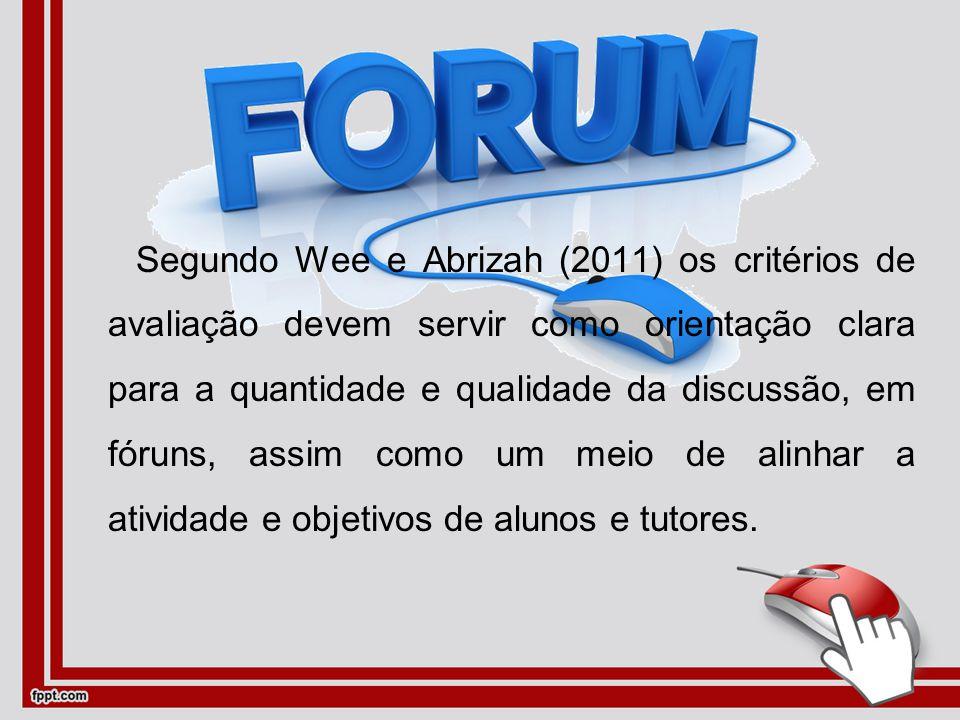 Segundo Wee e Abrizah (2011) os critérios de avaliação devem servir como orientação clara para a quantidade e qualidade da discussão, em fóruns, assim como um meio de alinhar a atividade e objetivos de alunos e tutores.