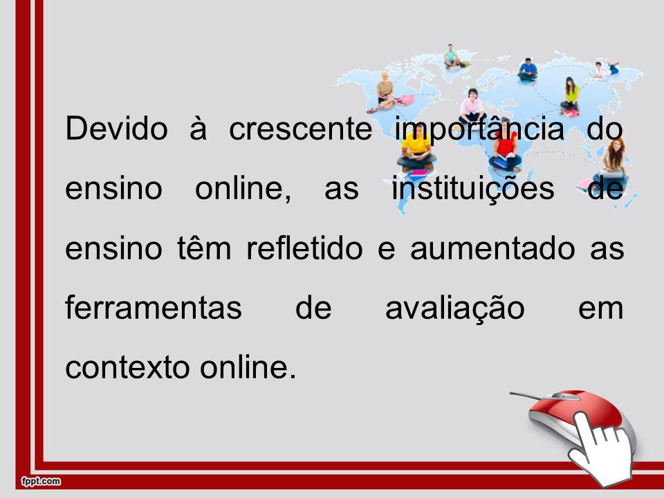 Devido à crescente importância do ensino online, as instituições de ensino têm refletido e aumentado as ferramentas de avaliação em contexto online.