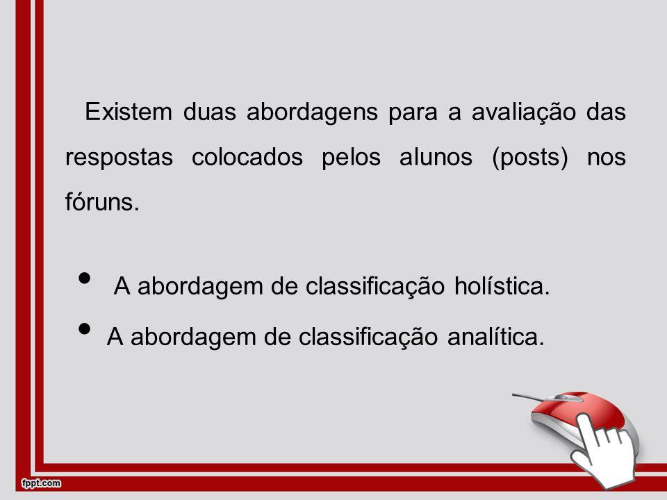 Existem duas abordagens para a avaliação das respostas colocados pelos alunos (posts) nos fóruns.