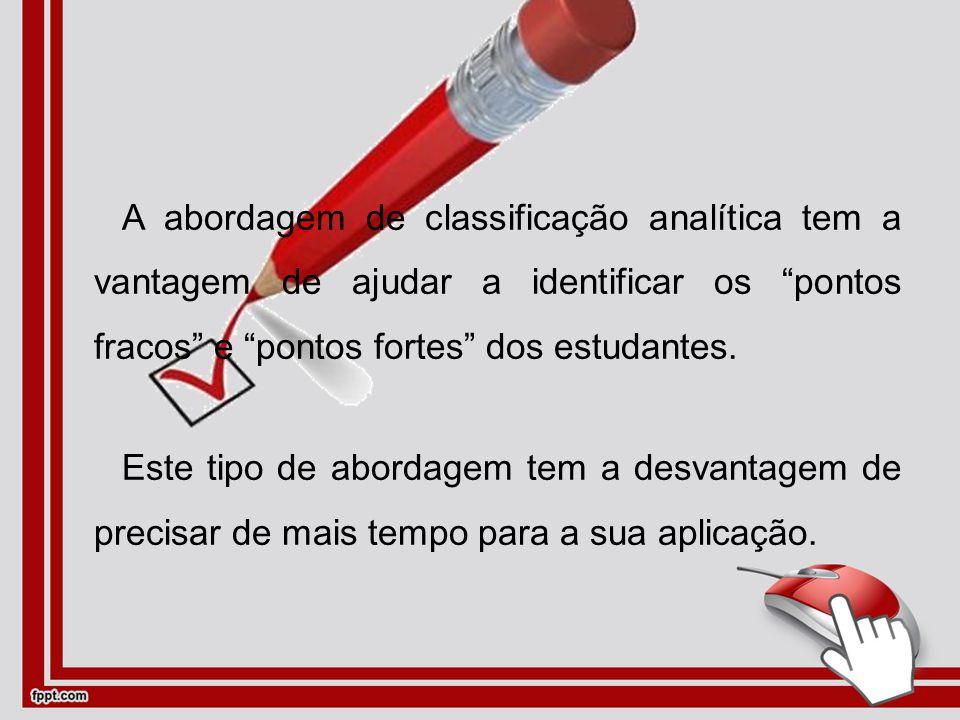 A abordagem de classificação analítica tem a vantagem de ajudar a identificar os pontos fracos e pontos fortes dos estudantes.