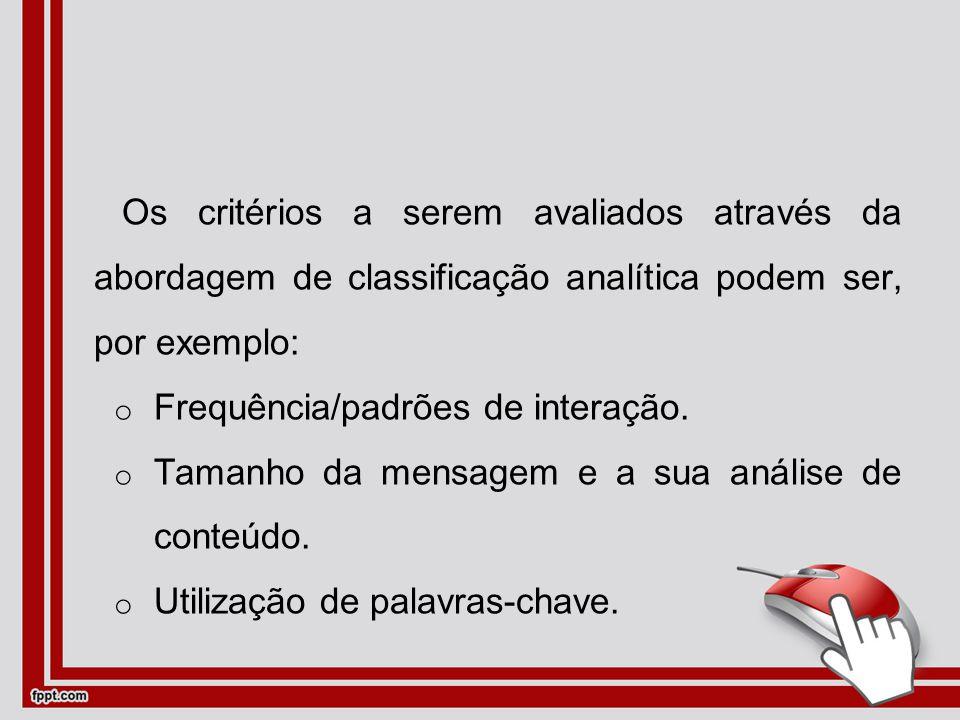 Os critérios a serem avaliados através da abordagem de classificação analítica podem ser, por exemplo: oFoFrequência/padrões de interação.