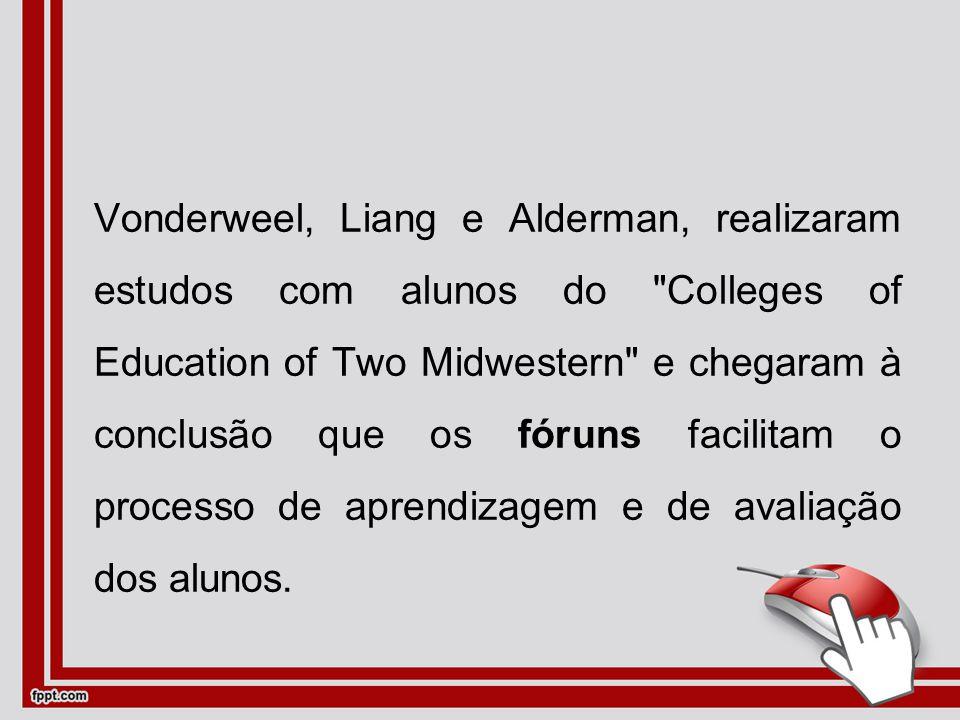 Vonderweel, Liang e Alderman, realizaram estudos com alunos do Colleges of Education of Two Midwestern e chegaram à conclusão que os fóruns facilitam o processo de aprendizagem e de avaliação dos alunos.