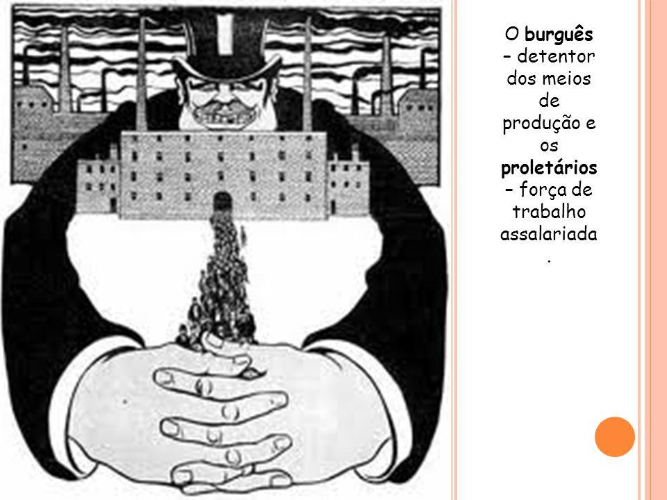 O burguês – detentor dos meios de produção e os proletários – força de trabalho assalariada.