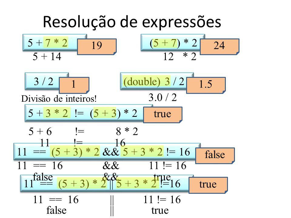 (5 + 7) * 2 Resolução de expressões 3 / 2 5 + 7 * 2 (double) 3 / 2 5 + 3 * 2 != (5 + 3) * 2 11 == (5 + 3) * 2 && 5 + 3 * 2 != 16 11 == (5 + 3) * 2 ||