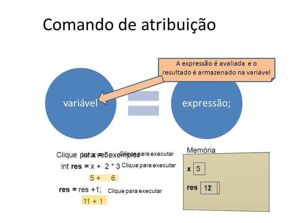 variávelexpressão; Comando de atribuição A expressão é avaliada e o resultado é armazenado na variável Clique para ver exemplos int x = 5; 5 int res =