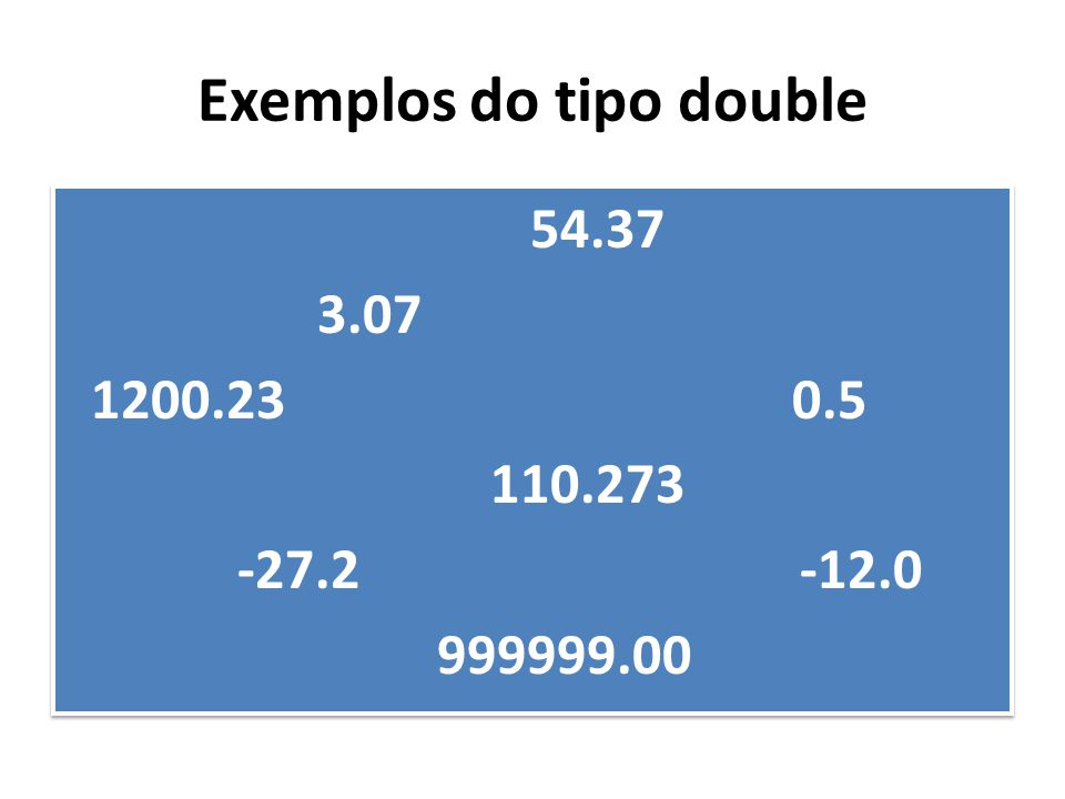 Exemplos do tipo double 54.37 3.07 1200.23 0.5 110.273 -27.2 -12.0 999999.00 54.37 3.07 1200.23 0.5 110.273 -27.2 -12.0 999999.00