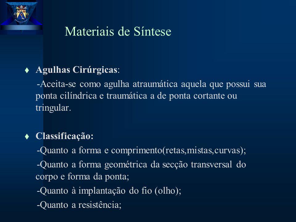 Materiais de Síntese t Agulhas Cirúrgicas: -Aceita-se como agulha atraumática aquela que possui sua ponta cilíndrica e traumática a de ponta cortante ou tringular.