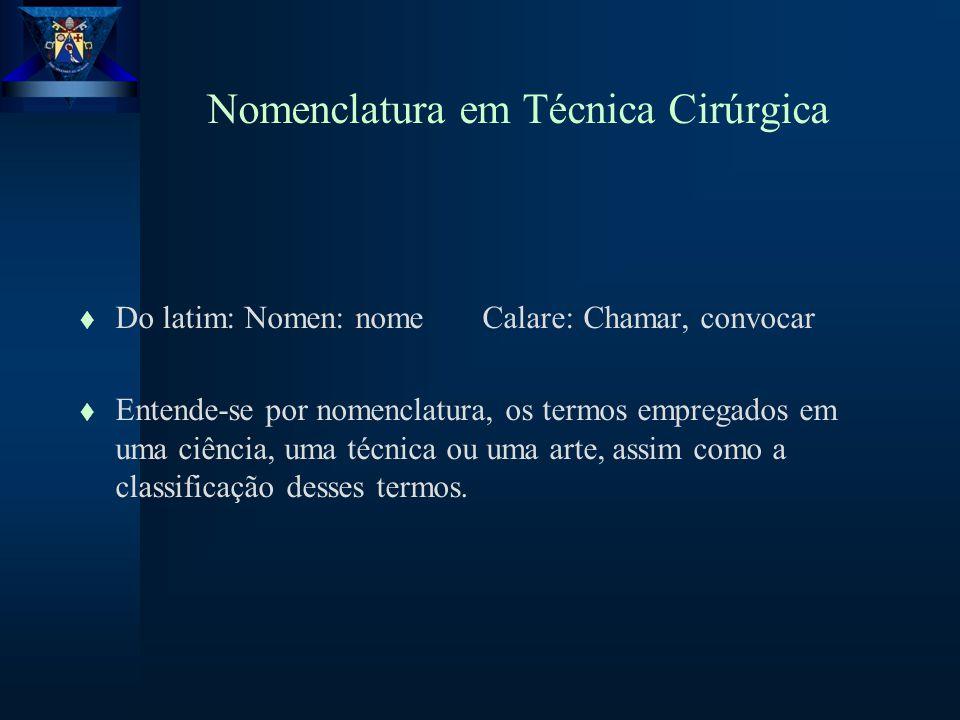 Nomenclatura em Técnica Cirúrgica t Do latim: Nomen: nome Calare: Chamar, convocar t Entende-se por nomenclatura, os termos empregados em uma ciência, uma técnica ou uma arte, assim como a classificação desses termos.