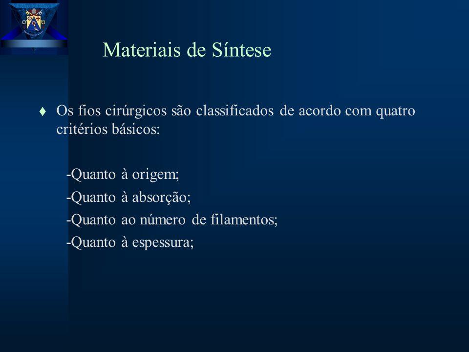 Materiais de Síntese t Os fios cirúrgicos são classificados de acordo com quatro critérios básicos: -Quanto à origem; -Quanto à absorção; -Quanto ao número de filamentos; -Quanto à espessura;