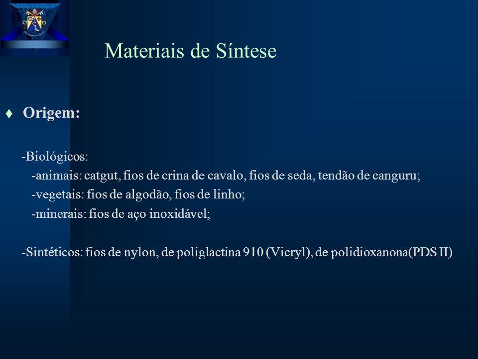 Materiais de Síntese t Origem: -Biológicos: -animais: catgut, fios de crina de cavalo, fios de seda, tendão de canguru; -vegetais: fios de algodão, fios de linho; -minerais: fios de aço inoxidável; -Sintéticos: fios de nylon, de poliglactina 910 (Vicryl), de polidioxanona(PDS II)