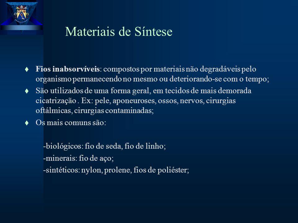 Materiais de Síntese t Fios inabsorvíveis: compostos por materiais não degradáveis pelo organismo permanecendo no mesmo ou deteriorando-se com o tempo; t São utilizados de uma forma geral, em tecidos de mais demorada cicatrização.