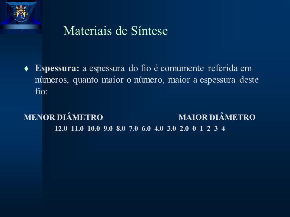 Materiais de Síntese t Espessura: a espessura do fio é comumente referida em números, quanto maior o número, maior a espessura deste fio: MENOR DIÂMETRO MAIOR DIÂMETRO 12.0 11.0 10.0 9.0 8.0 7.0 6.0 4.0 3.0 2.0 0 1 2 3 4