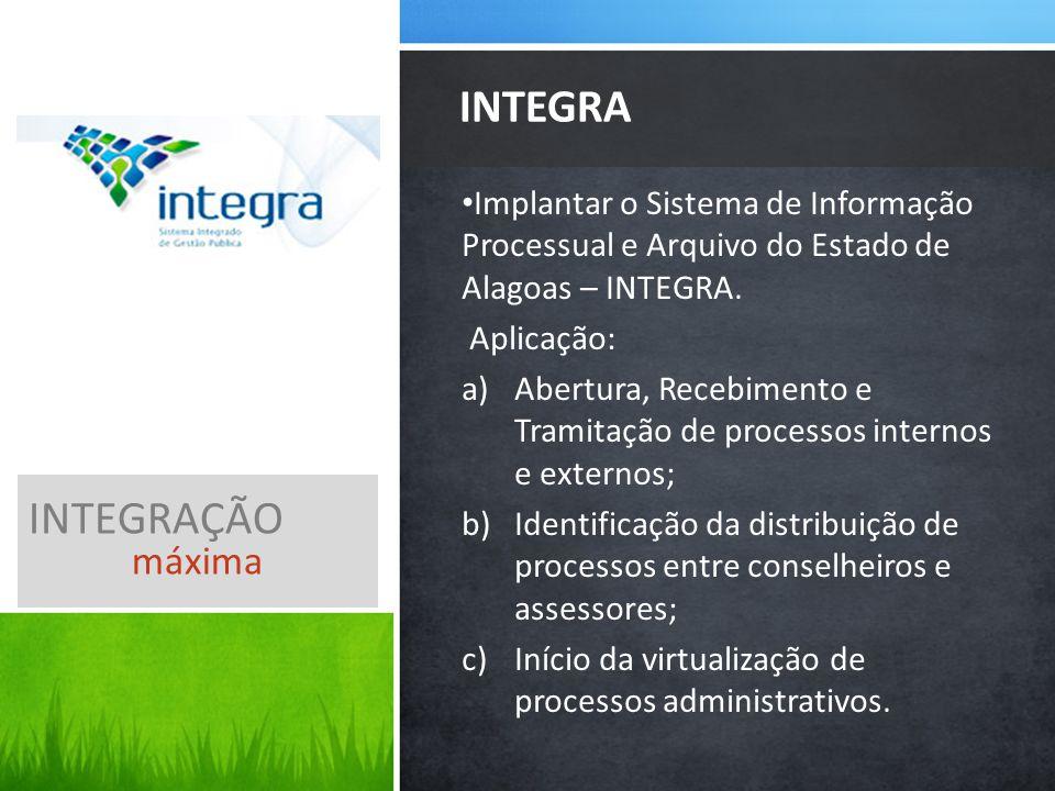 Implantar o Sistema de Informação Processual e Arquivo do Estado de Alagoas – INTEGRA.