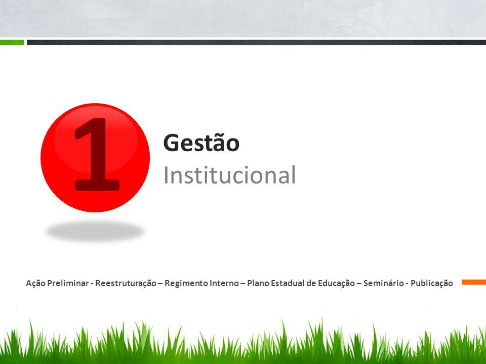 1 Ação Preliminar - Reestruturação – Regimento Interno – Plano Estadual de Educação – Seminário - Publicação