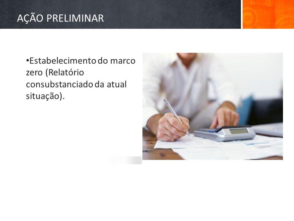 AÇÃO PRELIMINAR Estabelecimento do marco zero (Relatório consubstanciado da atual situação).