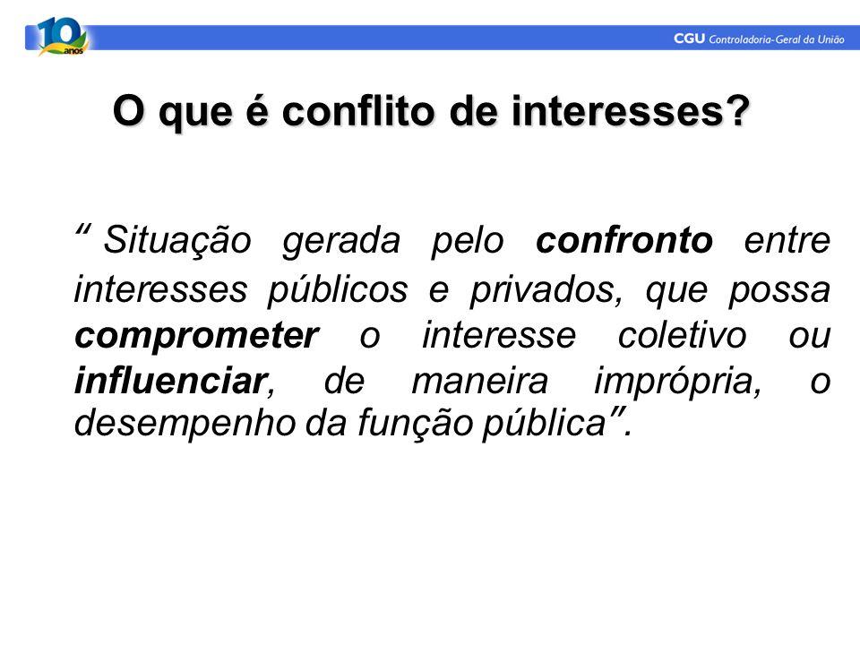"""O que é conflito de interesses? """"Situação gerada pelo confronto entre interesses públicos e privados, que possa comprometer o interesse coletivo ou in"""