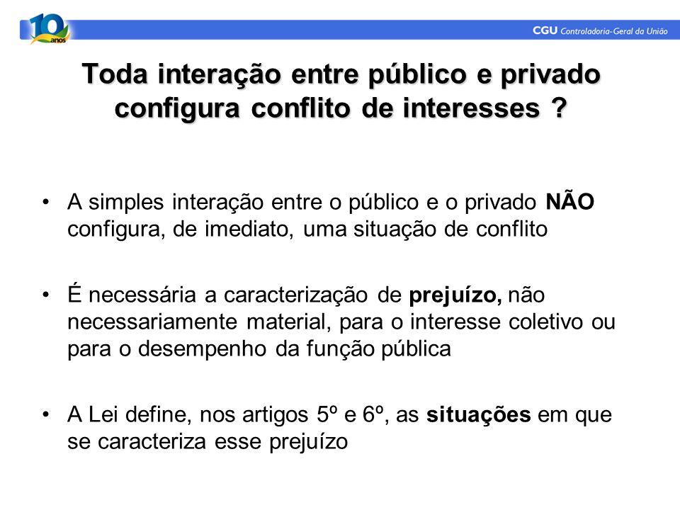 Toda interação entre público e privado configura conflito de interesses ? A simples interação entre o público e o privado NÃO configura, de imediato,