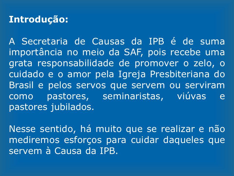 Introdução: A Secretaria de Causas da IPB é de suma importância no meio da SAF, pois recebe uma grata responsabilidade de promover o zelo, o cuidado e