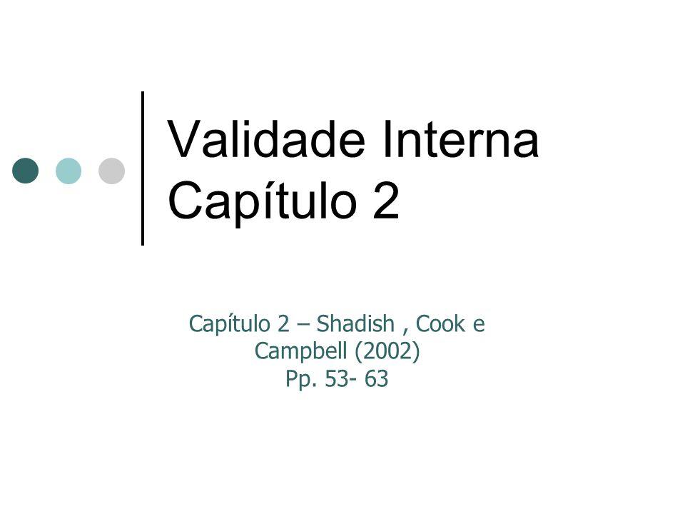 Validade Interna Capítulo 2 Capítulo 2 – Shadish, Cook e Campbell (2002) Pp. 53- 63