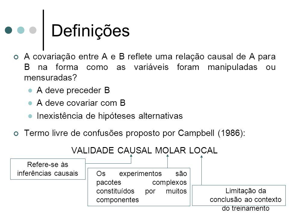 Definições A covariação entre A e B reflete uma relação causal de A para B na forma como as variáveis foram manipuladas ou mensuradas? A deve preceder