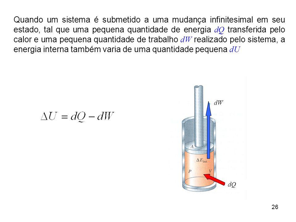 26 Quando um sistema é submetido a uma mudança infinitesimal em seu estado, tal que uma pequena quantidade de energia dQ transferida pelo calor e uma pequena quantidade de trabalho dW realizado pelo sistema, a energia interna também varia de uma quantidade pequena dU dW dQ